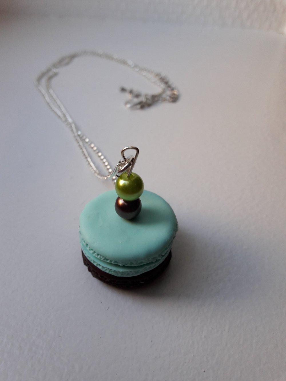 Sautoir Macaron vert et chocolat