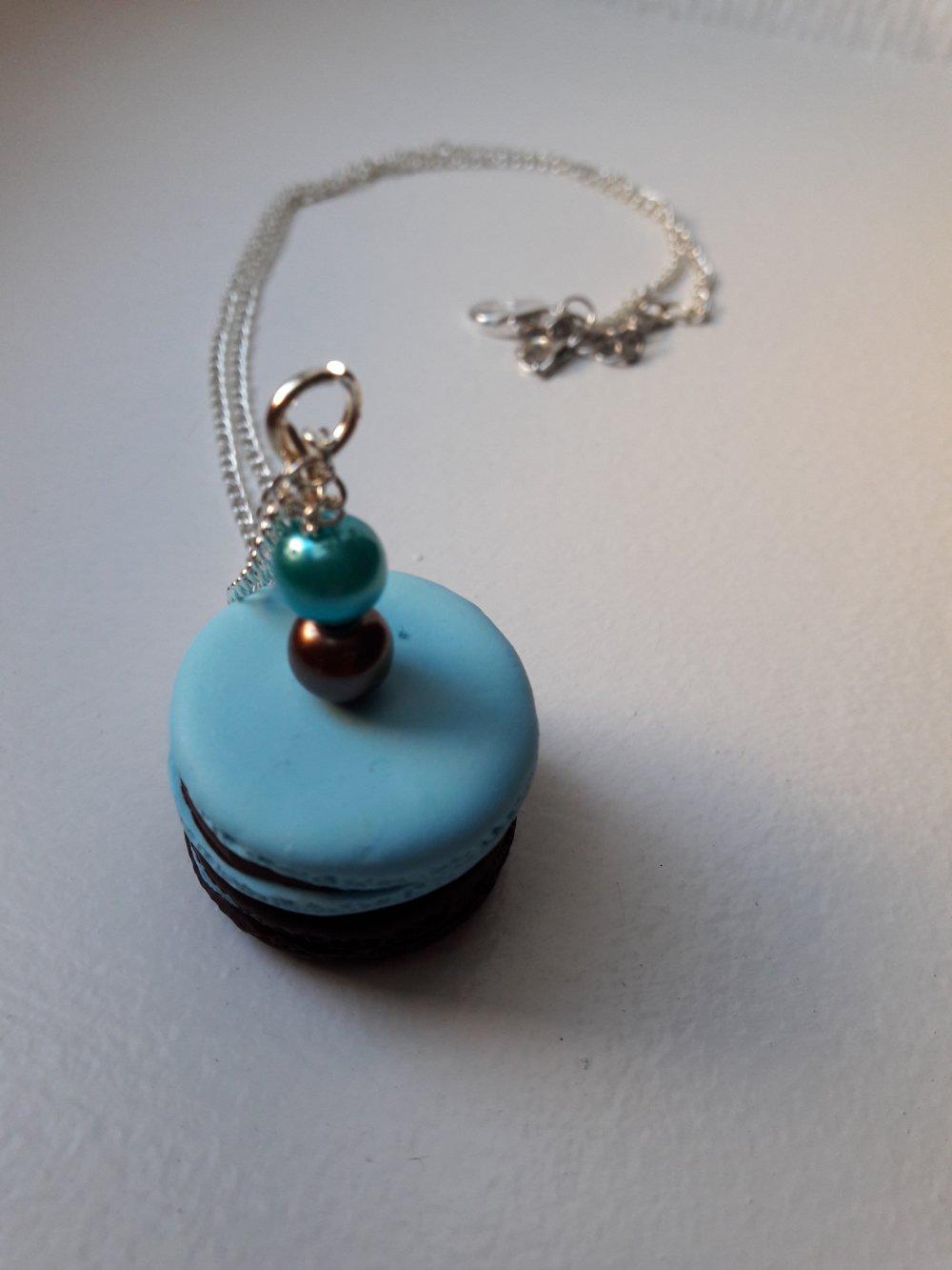 Sautoir Macaron bleu et chocolat