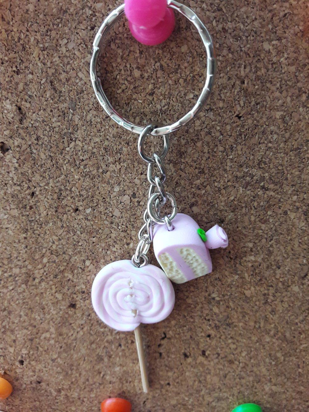Porte clés sucette et gâteau rose