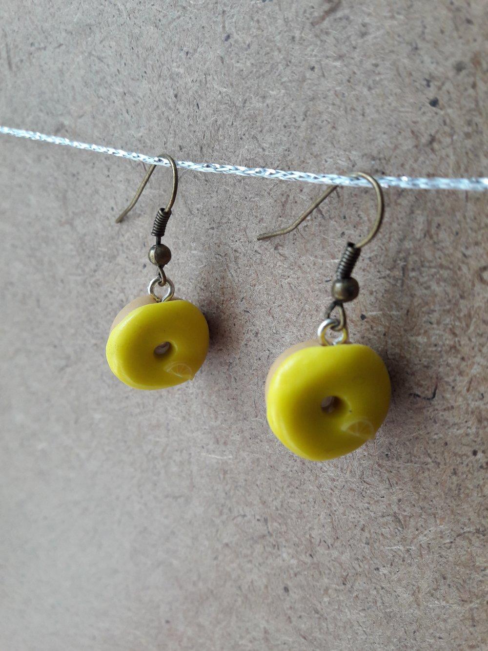 Boucles d'oreilles donuts jaunes