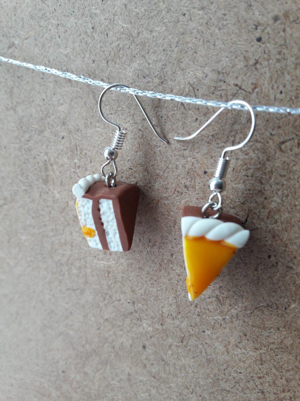 Boucles d'oreilles gâteau jaune