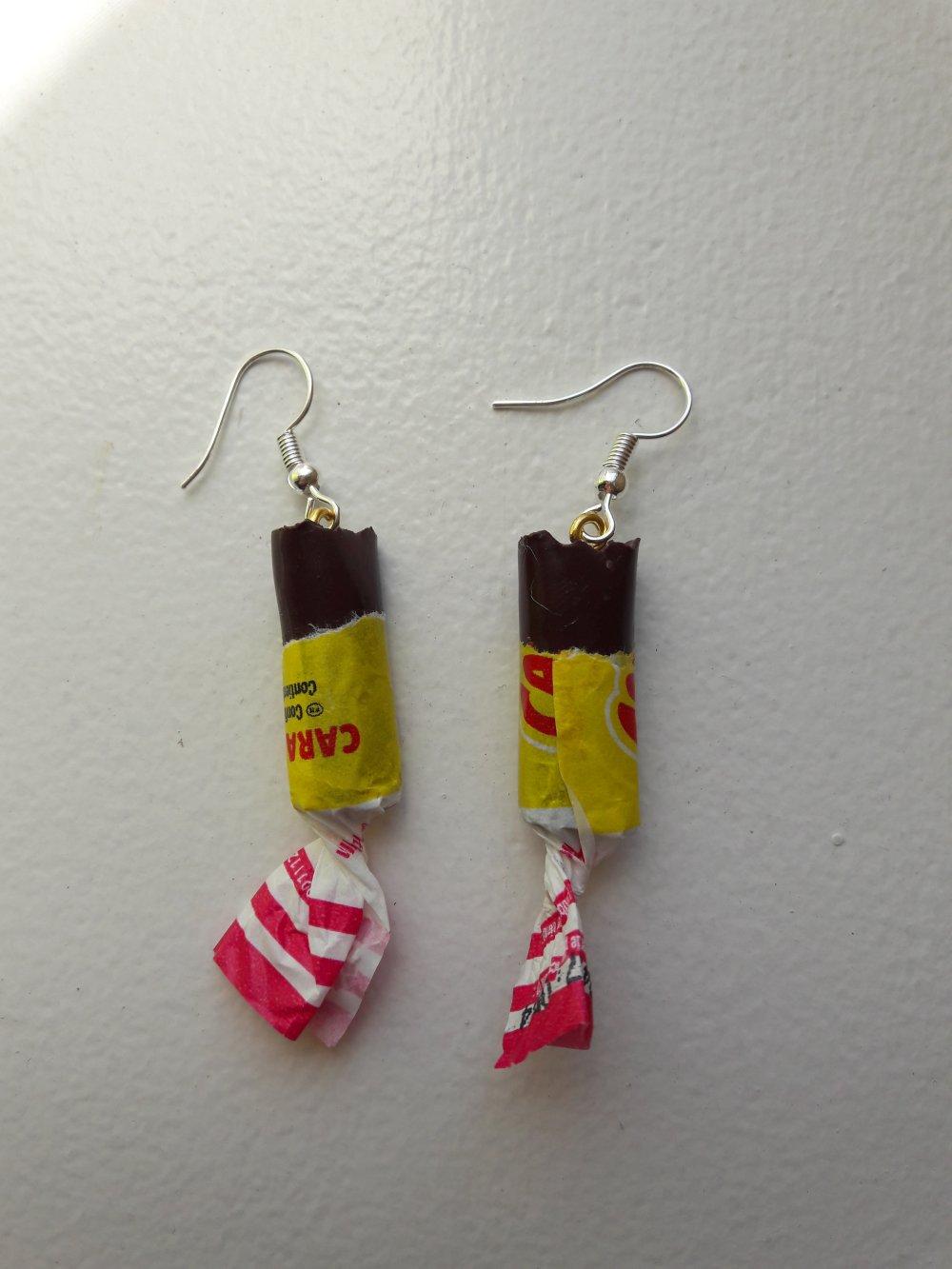 Boucles d'oreilles carambars caramel