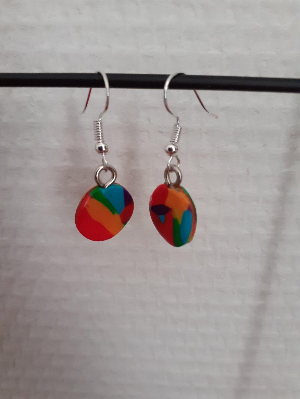 Boucles d'oreilles ronds multicolores