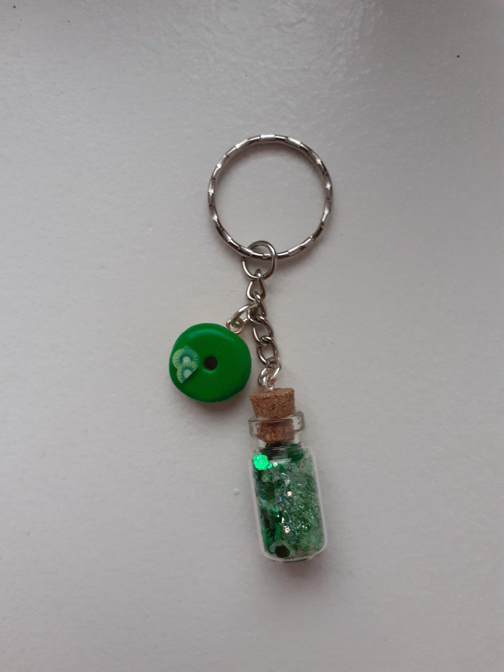 Porte-clés fiole et donut vert