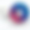 1 pendentif en résine forme donuts - 25 mm - bleu / rose - façon pétri