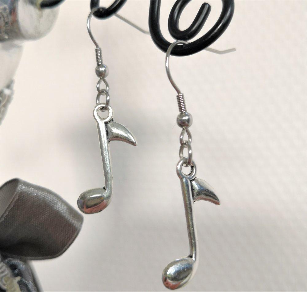 Boucles d'oreilles note de musique