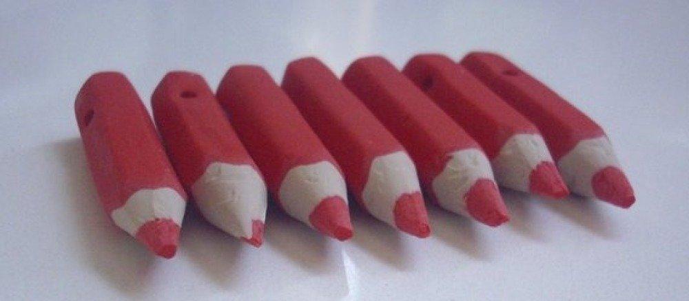 Perle artisanale en pâte polymère fimo - gros crayon 4 x 0,8 cm (x1)