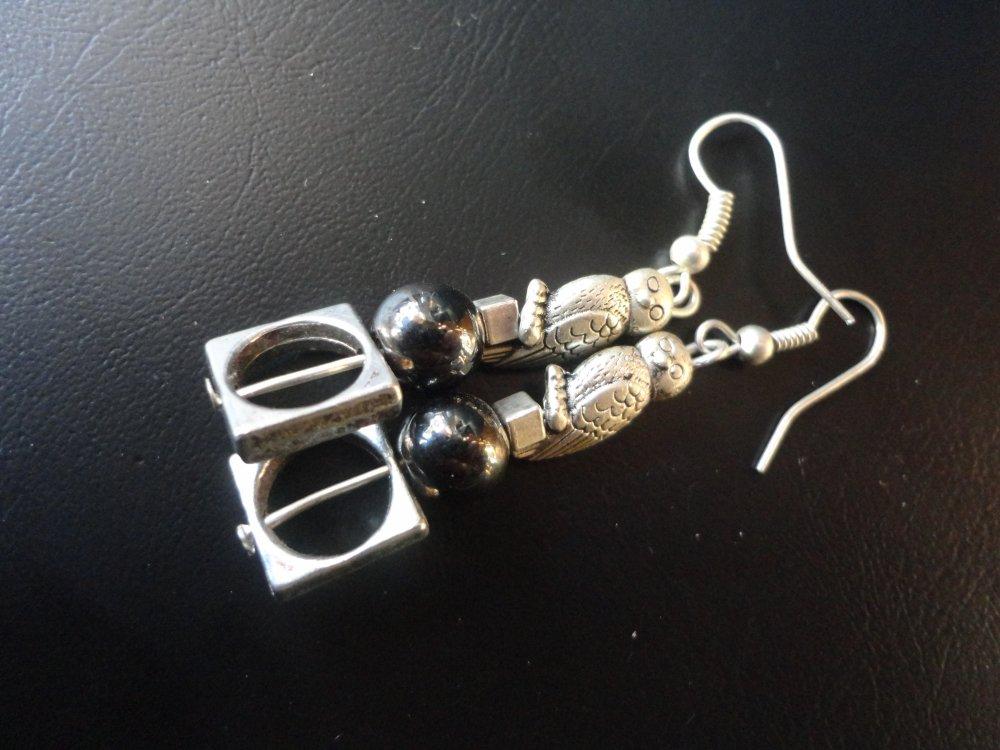 Boucles hématite magnétique et petites chouettes...