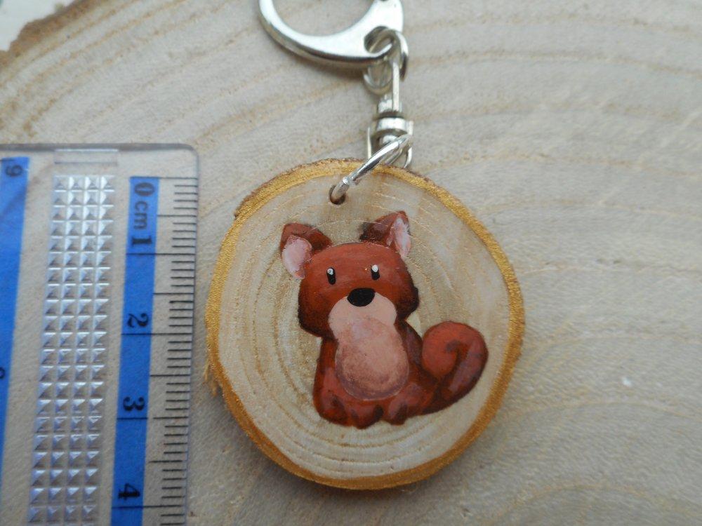 Porte clé peinture sur bois chien shiba