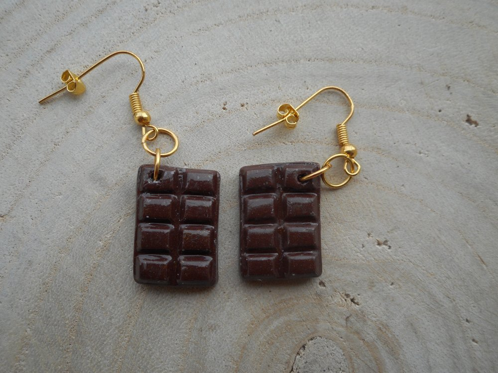 Boucles d'oreilles tablette de chocolat fimo