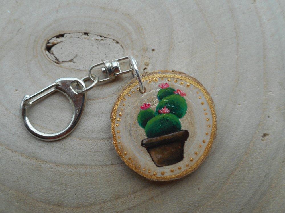 Porte clé peinture sur bois Cactus