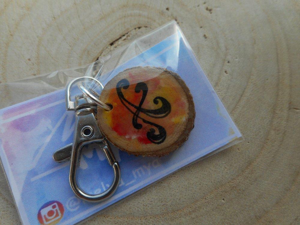Porte clé peinture sur bois lettre A