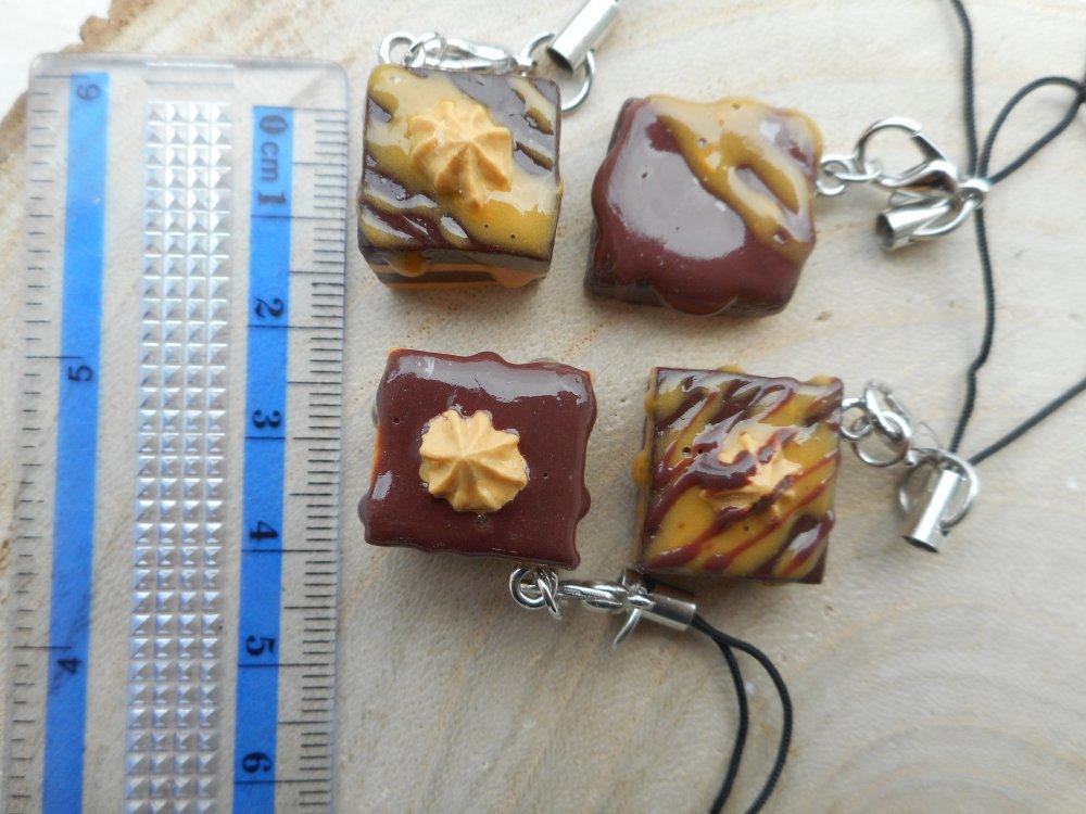 Strap Biscuit chocolat caramel fimo