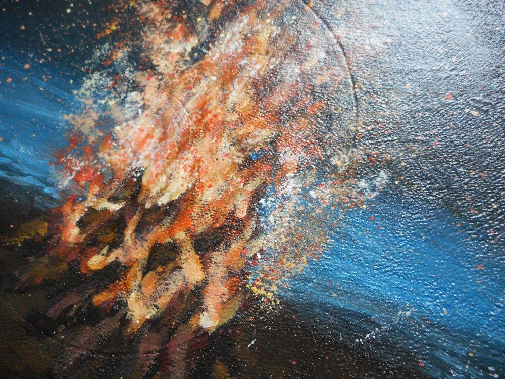 Peinture feu de bois sur la plage rondin de bois