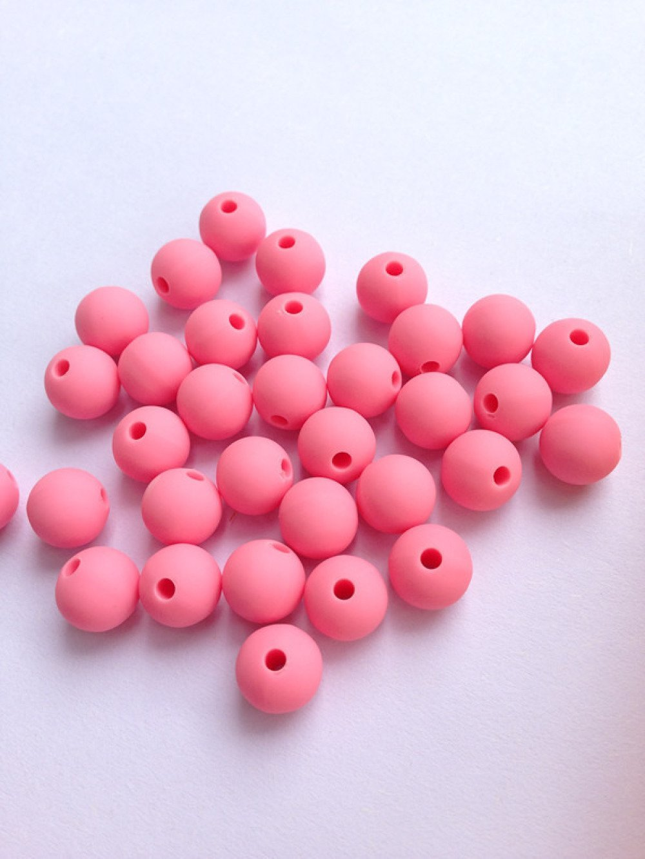 10 Perle 10mm Silicone Couleur Jaune Fluo Creation bijoux