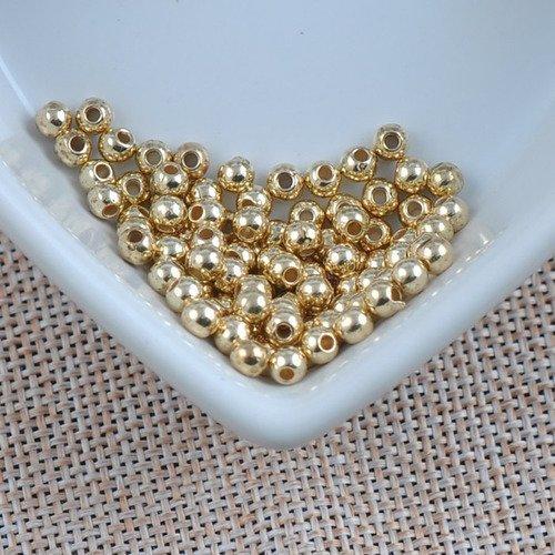 100 perle acrylique brillante 4mm couleur doré, creation bijoux, collier ...