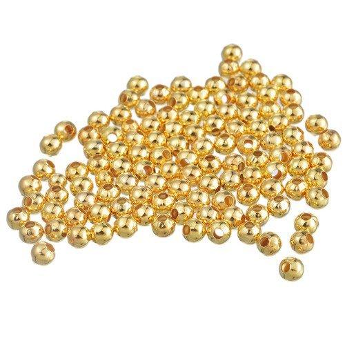 50 perle metal 5mm couleur doré brillant creation bracelet, bijoux, collier