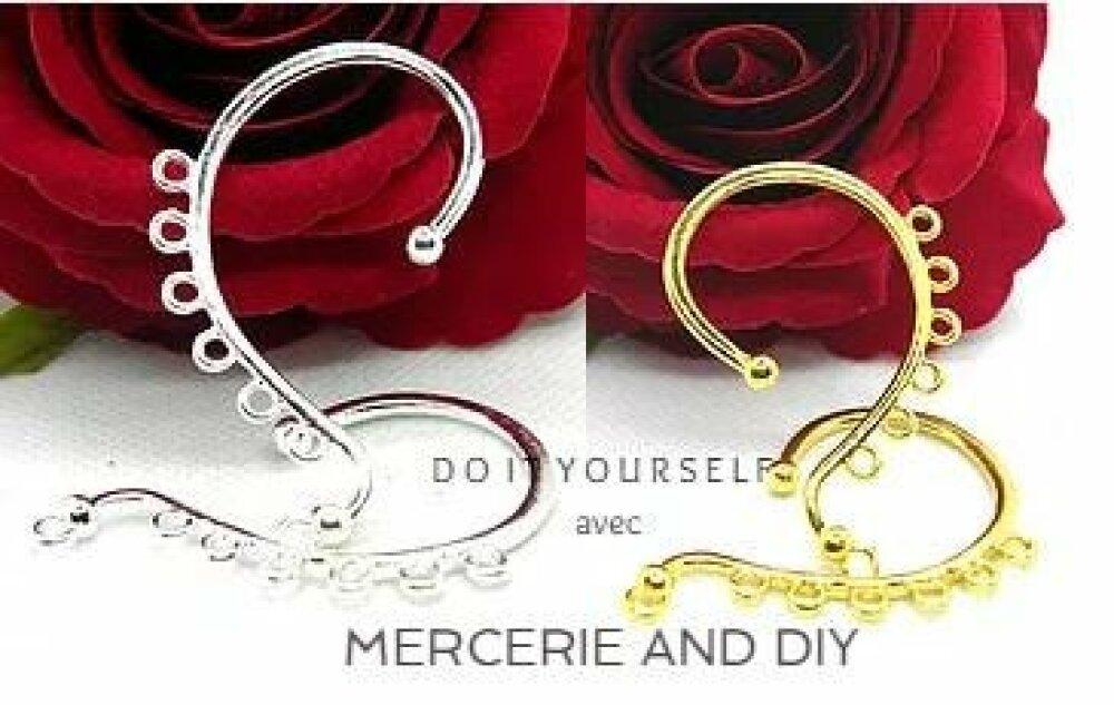 Support crochet oreille, tour d'oreille pampille, crochet en métal rhodié, tour oreille chandelier, tour d'oreille, support oreille, apprêt