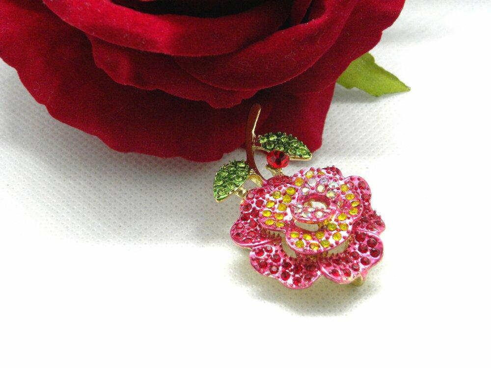 Pendentif fleur émaillé, rose émaillée dorée, pendentif fleur dorée, pendentif dorée émaillé, pendentif broche, pendentif fleur, orchidée