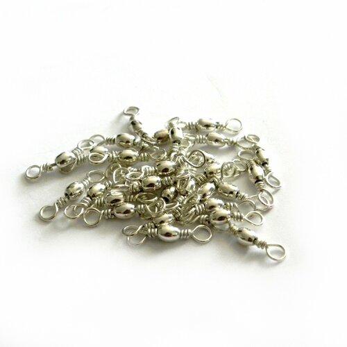 Jonction petit boule, 10x 5 mm en métal argenté
