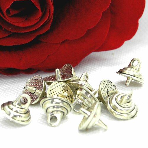 Bélière ronde godronnée, bélière  bouée argent, lot bélière argent, bélière cône, bélière argentée, bélière godronnée, bélière, triangle,