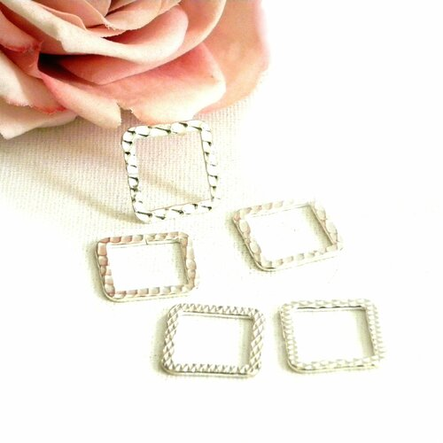 Anneau ouvert plat, anneau carré strié, anneau plat carré,  anneau ouvert carré, anneaux connecteur ouvert, anneau, connecteur, carré,