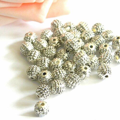 Perle métal perlée, perle argentée ronde, perle boule perlée, lot de perle, perle métal, perle argent, perle ronde, ronde, perle, métal