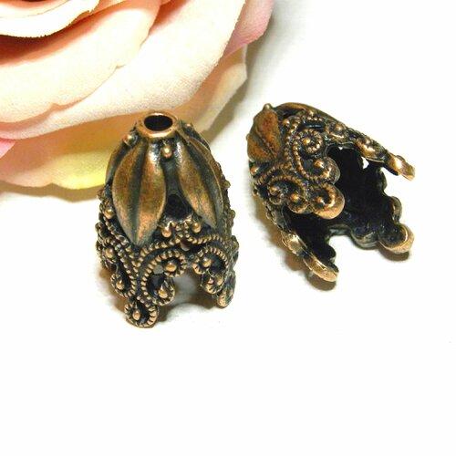 Calotte baroque embout, calotte cloche cuivre, calotte cloche dôme, embout baroque 3d, gros cache noeud, cache noeud, embout bronze