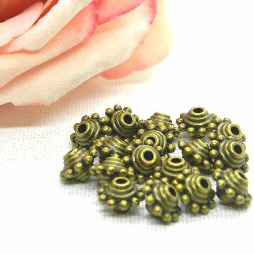 Perle mexicaine toupie , perle bronze gravée, perle bronze, perle plate bronze, perle métal, perle baroque, grosse perlée, perle gravées