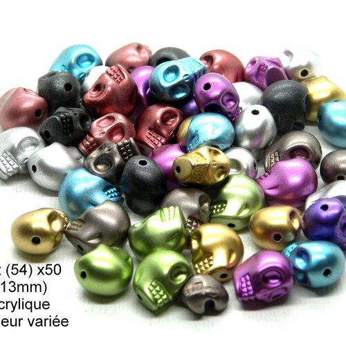 Perle acrylique tête, tête de mort métallisée, tête de mort, crâne acrylique métallisé, perle crâne acrylique, perle crâne, perle acrylique