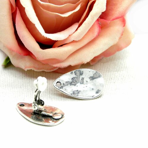 Support clips pinces, support boucle d'oreille, clip pour cabochon, support cabochon, support clip, clip argent, clip pince, pince, oreille