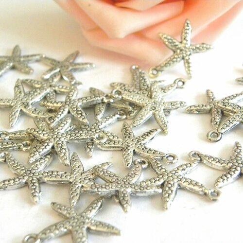 Breloque étoile mer, étoile de mer, breloque étoile argent, breloque marine argenté, étoile de mer argent, breloque argent, breloque étoile,