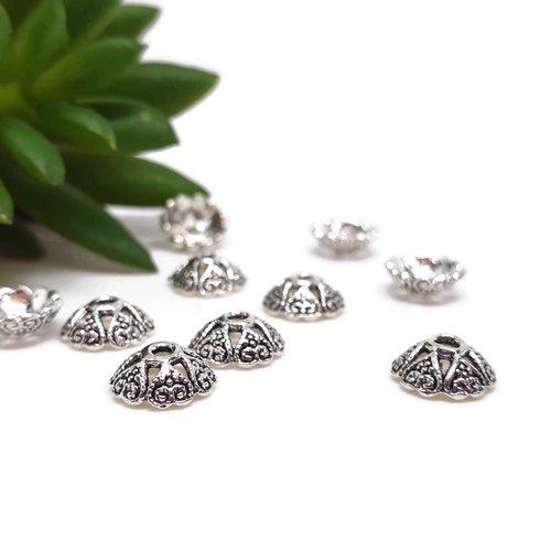 Coupelles argentées arrondies pour perles x10