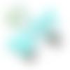 Clip pour attache-tétine tête de mickey en silicone alimentaire 56x61mm - bleu lagon