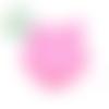 Perle tête de renard en silicone sans bpa 19x24mm - rose bonbon