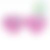 Perle coeur i love mom / i love dad en silicone alimentaire sans bpa 25x20x10mm - rose