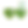 Perle coeur i love mom / i love dad en silicone alimentaire sans bpa 25x20x10mm - vert