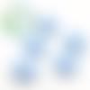 Perle tête de chat / kitty en silicone 20,5x18mm - bleu pastel
