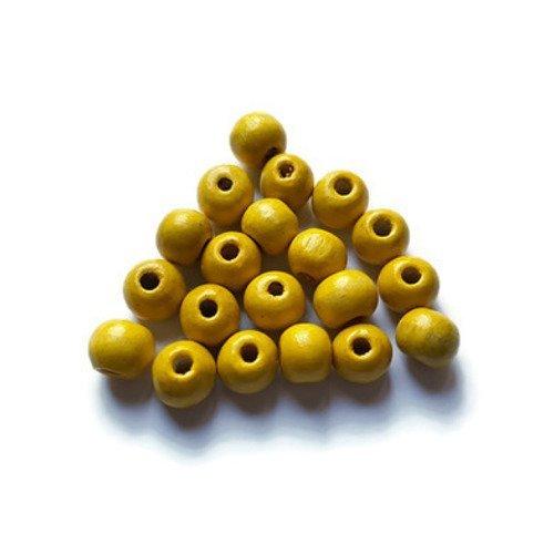 Perles en bois jaune
