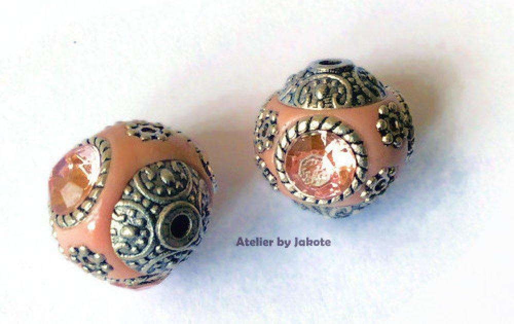 Perles tibétaine ronde rose