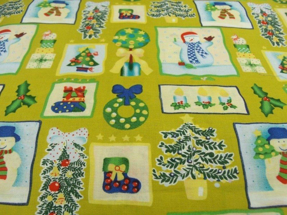 tissu coton imprimé -NOEL- jaune & vert