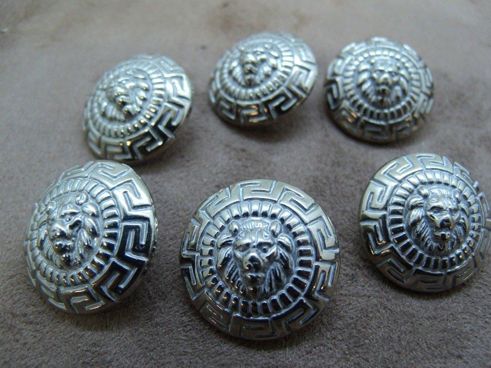 bouton acrylique argent,motif lion, 22 mm, parfait pour chemisier, robe , pull, veste,