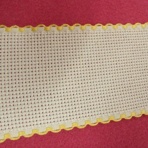 Ruban à broder jaune et blanc 5 cm, idéal pour customiser vos vêtements et tout objets de décoration