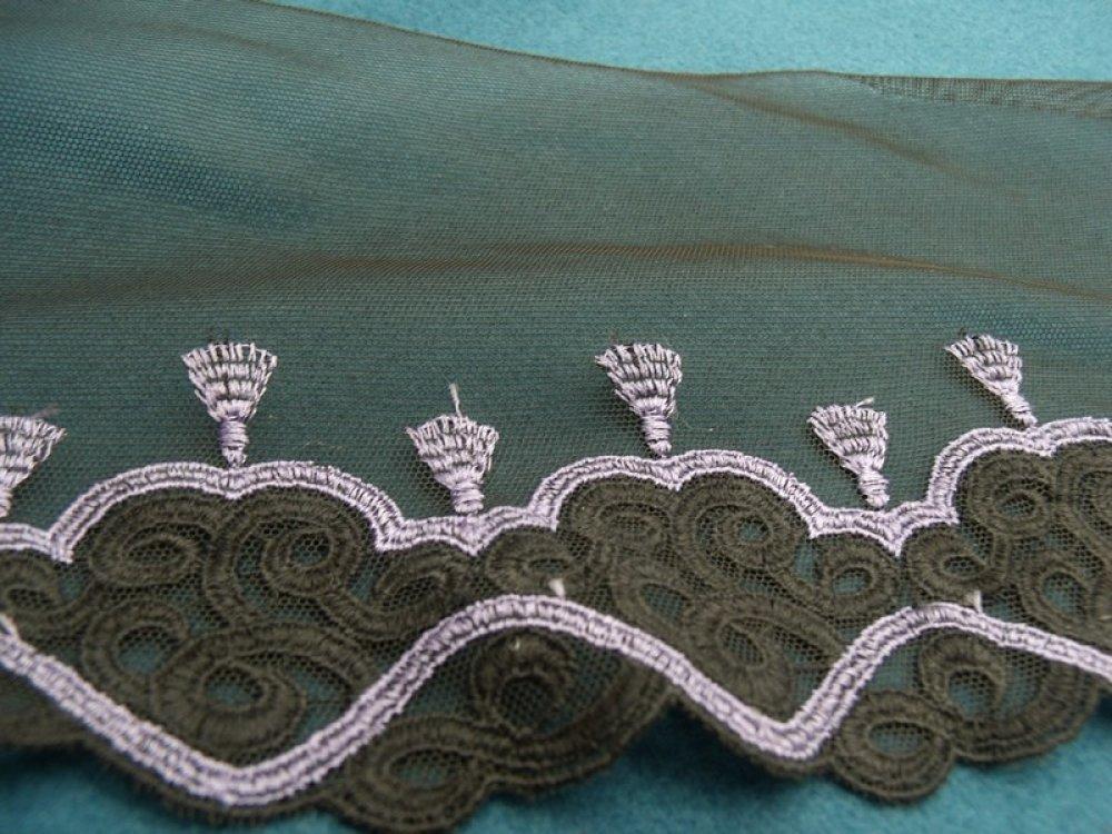 broderie noire et violet,13 cm/ 6 cm, idéal pour toutes décorations sur vetements , lingerie, robe,