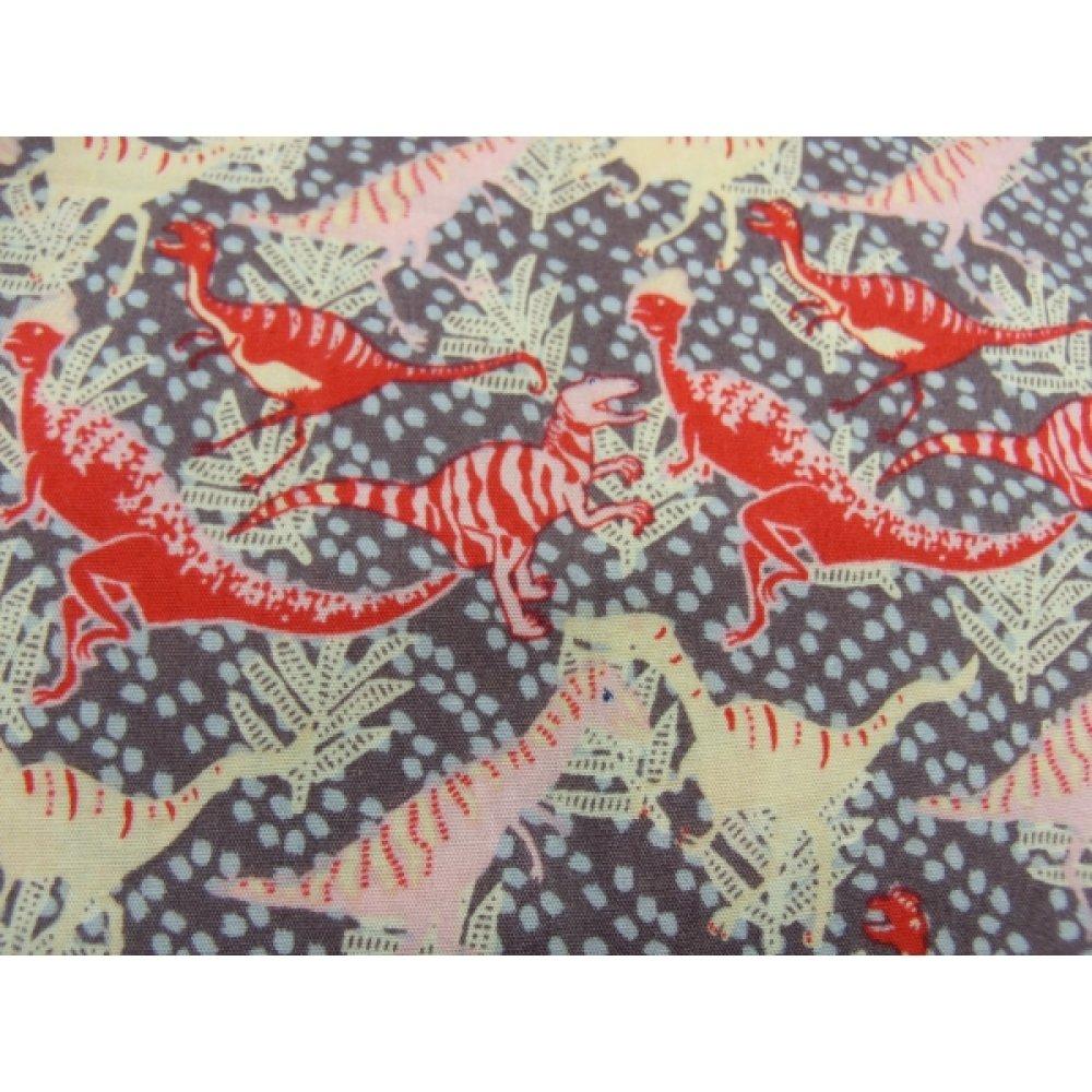 tissu coton imprimé dinosaure rose et rouge,150 cm,idéal pour toutes vos réalisations et créations