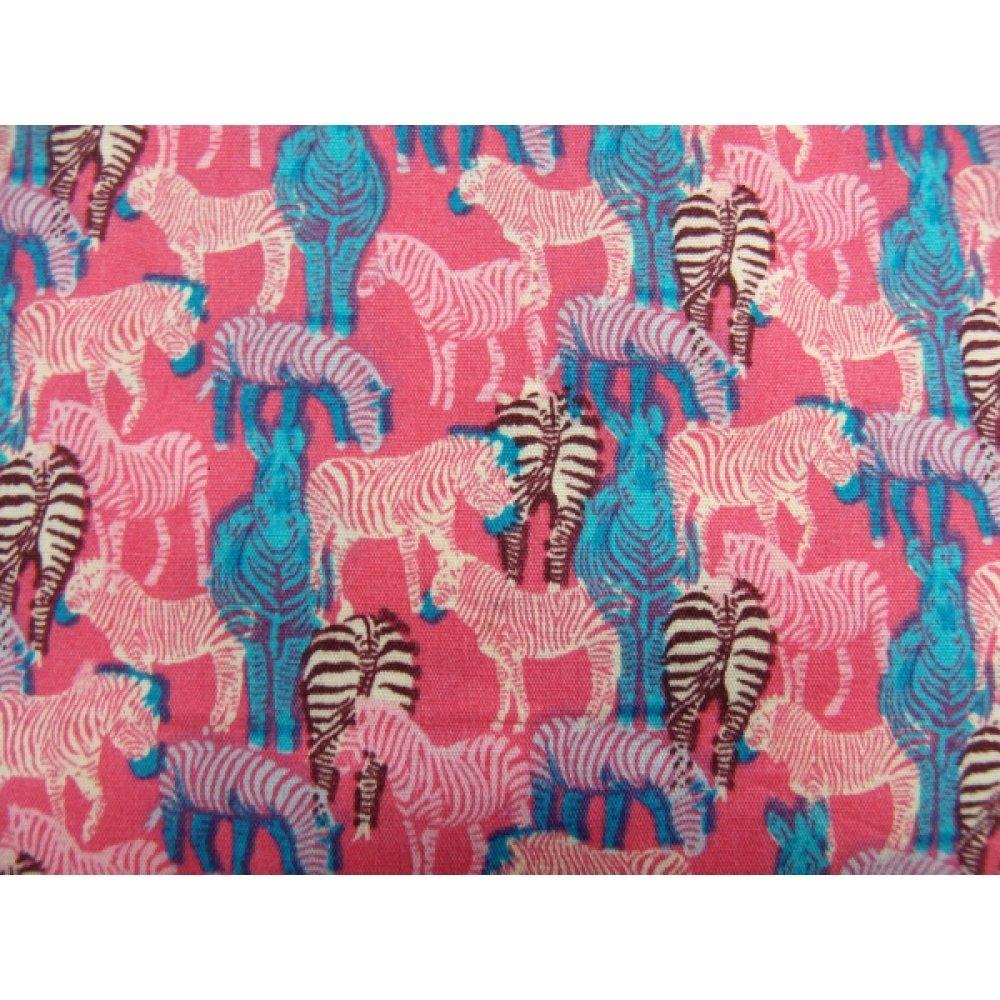 tissu coton imprimé -ZÈBRE bleu et fuschia, 150 cm,idéal pour toutes vos réalisations et créations