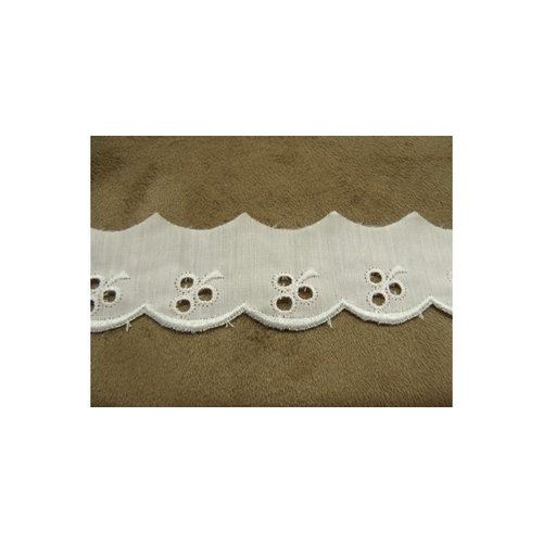 Broderie anglaise coton rose 2,5 cm / hauteur de broderie 1,5 cm