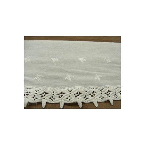 Broderie anglaise sur jersey de coton blanche 14 cm/hauteur de broderie 8 cm