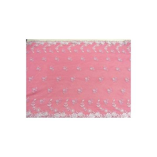 Broderie coton rose fuschia en lurex argent,32 cm