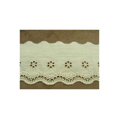 Broderie anglaise vintage coton écru 6 cm/hauteur de broderie:3.5 cm